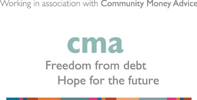Working in association with Community Money Advice logo - Freedom from debt. Hope for the Future